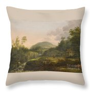 A Pair Of Mountain Landscapes With Staffage Throw Pillow