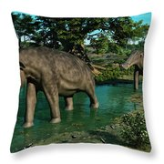 A Pair Of Platybelodon Grazing Throw Pillow by Walter Myers