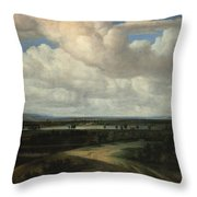 A Panoramic Landscape With A Country Estate Throw Pillow