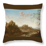 A Panoramic River Valley Landscape With Figures And Village Below Throw Pillow