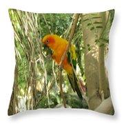A Parakeet In Paradise Throw Pillow