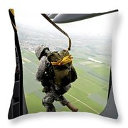 A Paratrooper Executes An Airborne Jump Throw Pillow