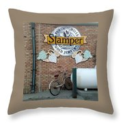 A Parked Bicycle Throw Pillow