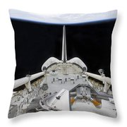 A Partial View Of Space Shuttle Throw Pillow by Stocktrek Images