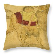 A Partially Coloured Drawing Of A Strutting Camel Throw Pillow