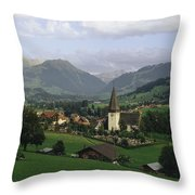 A Pastoral View Of A Village Throw Pillow