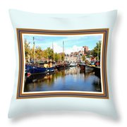 A Peaceful Canal Scene - The Netherlands L A S With Decorative Ornate Printed Frame. Throw Pillow