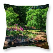 A Peaceful Feeling At The Azalea Pond Throw Pillow