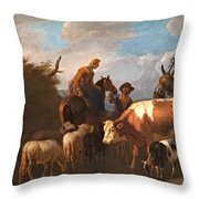 A Peasant Couple Amongst Their Cattle And Sheep Throw Pillow