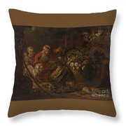 A Peasant Family Dining In An Interior  Throw Pillow