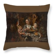 A Peasant Family Dining Throw Pillow