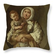 A Peasant Mother With Her Child In Her Arms Throw Pillow