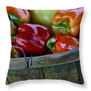 A Peck Of Peppers Throw Pillow