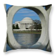 A Peek At The Jefferson Memorial Throw Pillow