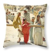 A Peep At The Train, India, 1892 Throw Pillow