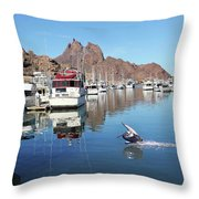 A Pelican Lands In The Old San Carlos Marina, Guaymas, Sonora, M Throw Pillow