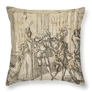 A Performance By The Commedia Dell'arte Throw Pillow