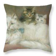 A Persian Cat And Her Kittens Throw Pillow by Maud D Heaps
