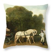 A Phaeton With A Pair Of Cream Ponies In The Charge Of A Stable-lad Throw Pillow