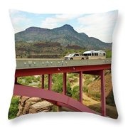 A Pickup Pulling A Travel Trailer Across The Salt River Canyon B Throw Pillow