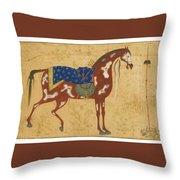 A Piebald Stallion Throw Pillow