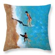 A Piece Of The Beach - Orange Swim Throw Pillow