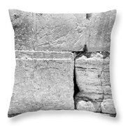 A Piece Of The Wailing Wall In Black And White Throw Pillow