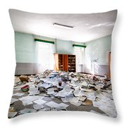 A Pile Of Knowledge - Abandoned School Building Throw Pillow