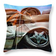 A Pile Of Tied And Netted Autos Throw Pillow