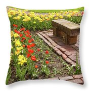 A Place To Sit By The Flowers Throw Pillow