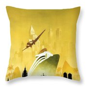 A Pleasant Trip To Germany - Airship, Aircraft, Ship - Retro Travel Poster - Vintage Poster Throw Pillow