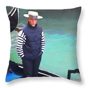 A Pleasant Wait Of A Gondolier Throw Pillow