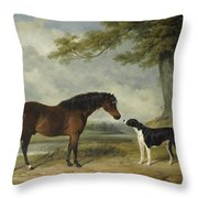 A Pony With A Dog Throw Pillow