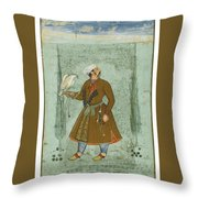 A Portrait Of A Nobleman Holding A Falcon Throw Pillow