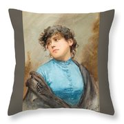 A Portrait Of A Young Woman In A Blue Dress Throw Pillow