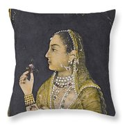 A Portrait Of Jahanara Begum Throw Pillow