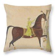 A Portrait Of The Royal Stallion Throw Pillow