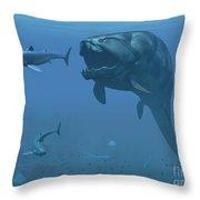 A Prehistoric Dunkleosteus Fish Throw Pillow