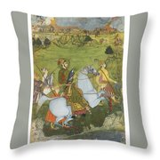 A Prince Holding A Falcon And Galloping Throw Pillow