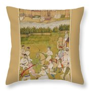 A Prince Rides Out With A Hunting Party Throw Pillow