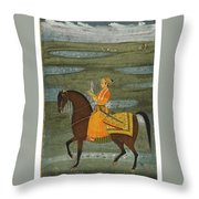 A Prince Riding In A Landscape Throw Pillow