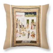 A Princess With Attendants On A Terrace Throw Pillow