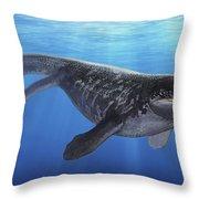 A Prognathodon Saturator Swimming Throw Pillow