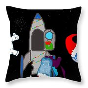 A Puppydragon Christmas In Space Throw Pillow by Jera Sky