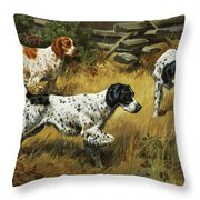 A Quail Hides In A Covert From Pointing Throw Pillow by Walter A. Weber