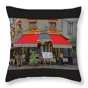 A Quaint Restaurant In Paris, France Throw Pillow
