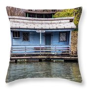 A Raft House Moored To The Shoreline Of Ada Ciganlija Islet Throw Pillow