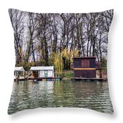 A Raft Houses Moored To The Shoreline Of Ada Medjica Islet Throw Pillow