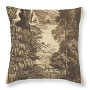 A Rainbow Landscape With Two Women Viewing It From Above Throw Pillow