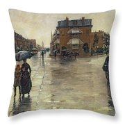 A Rainy Day In Boston Throw Pillow